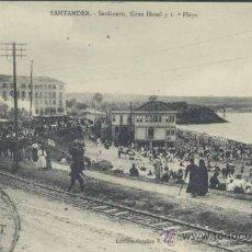 Postales: SANTANDER.-SARDINERO., GRAN HOTEL Y 1ª PLAYA. Lote 35406082
