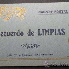 Postales: RECUERDO DE LIMPIAS. BLOC COMPLETO DE 12 POSTALES. 9 X 15,5 CM. UNA PANORAMICA DESPLEGABLE. Lote 35505187