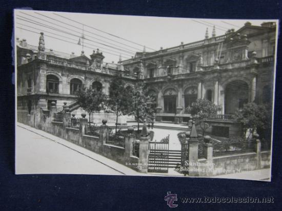 POSTAL FOTOGRÁFICA SIN CIRCULAR SANTANDER BIBLIOTECAS: M.PELAYO Y MUNICIPAL G.H. ALSINA MADRID 13 (Postales - España - Cantabria Antigua (hasta 1.939))