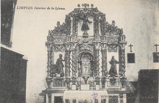LIMPIAS. INTERIOR DE LA IGLESIA, EDITOR NO LO DICE (Postales - España - Cantabria Antigua (hasta 1.939))