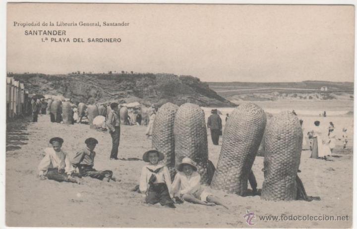 SANTANDER.- 1.ª PLAYA DEL SARDINERO (Postales - España - Cantabria Antigua (hasta 1.939))