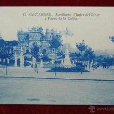 Postales: ANTIGUA POSTAL DE SANTANDER. SARDINERO CHALET DEL PINAR Y PASEO DE LA CAÑIA. ESCRITA. Lote 42860615