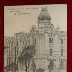 Postales: ANTIGUA POSTAL DE SANTANDER. EL AYUNTAMIENTO. HAUSER Y MENET. CIRCULADA. Lote 42873409