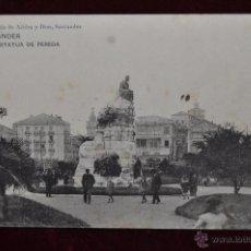 Postales: ANTIGUA POSTAL DE SANTANDER. ESTATUA DE PEREDA. HAUSER Y MENET. ESCRITA. Lote 42926212