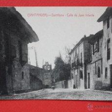 Postales: ANTIGUA POSTAL DE SANTILLANA. CANTABRIA. CALLE DE JUAN INFANTE. FOTPIA. CASTAÑEIRA. SIN CIRCULAR. Lote 45235299
