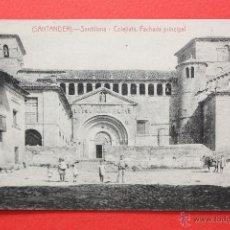 Postales: ANTIGUA POSTAL DE SANTILLANA. CANTABRIA. COLEJIATA, FACHADA PRINCIPAL. FOTPIA. CASTAÑEIRA. Lote 45235423