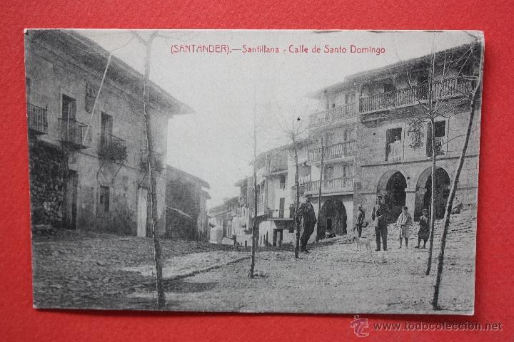 ANTIGUA POSTAL DE SANTILLANA. CANTABRIA. CALLE DE SANTO DOMINGO. FOTPIA. CASTAÑEIRA. SIN CIRCULAR (Postales - España - Cantabria Antigua (hasta 1.939))