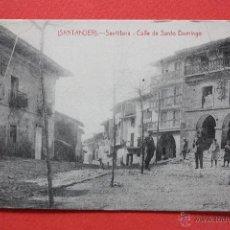 Postales: ANTIGUA POSTAL DE SANTILLANA. CANTABRIA. CALLE DE SANTO DOMINGO. FOTPIA. CASTAÑEIRA. SIN CIRCULAR. Lote 45235471