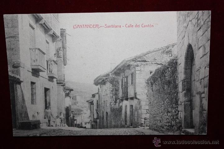 ANTIGUA POSTAL DE SANTILLANA. CANTABRIA. CALLE DEL CANTÓN. FOTPIA. CASTAÑEIRA. SIN CIRCULAR (Postales - España - Cantabria Antigua (hasta 1.939))
