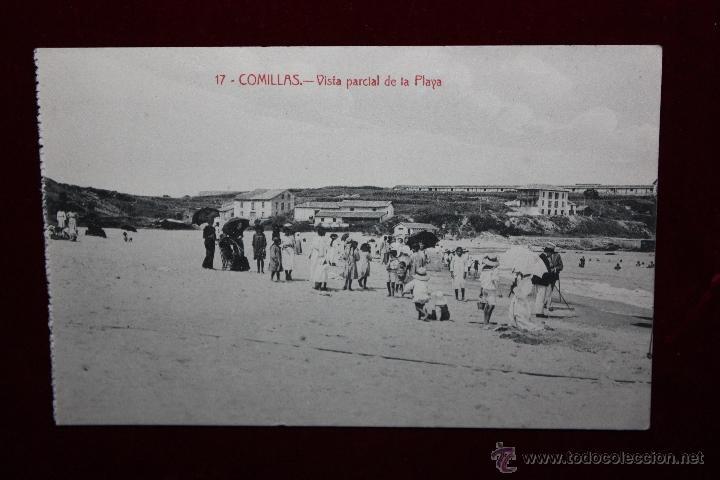 ANTIGUA POSTAL DE COMILLAS. CANTABRIA. VISTA PARCIAL DE LA PLAYA. ED. M. SOLÍS. SIN CIRCULAR (Postales - España - Cantabria Antigua (hasta 1.939))