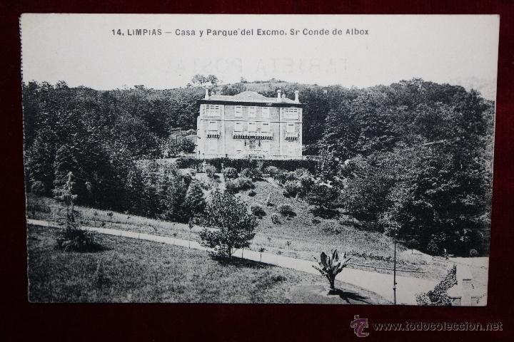 ANTIGUA POSTAL DE LIMPIAS. CANTABRIA. CASA Y PARQUE DEL EXCMO. SR CONDE DE ALBOX. ESCRITA (Postales - España - Cantabria Antigua (hasta 1.939))