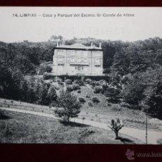 Postales: ANTIGUA POSTAL DE LIMPIAS. CANTABRIA. CASA Y PARQUE DEL EXCMO. SR CONDE DE ALBOX. ESCRITA. Lote 45272905