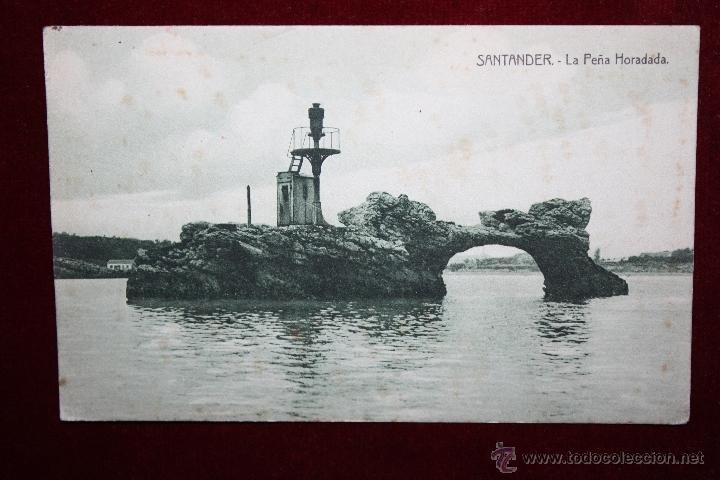 ANTIGUA POSTAL DE SANTANDER. CANTABRIA. LA PEÑA HORADADA. ED. A. FUENTES. ESCRITA (Postales - España - Cantabria Antigua (hasta 1.939))