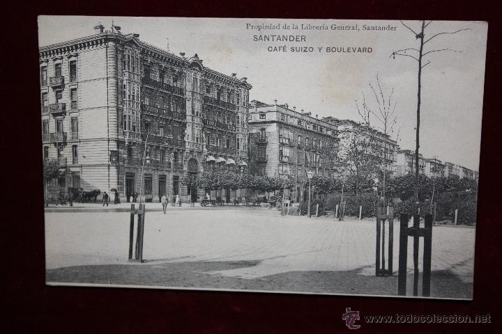 ANTIGUA POSTAL DE SANTANDER. CANTABRIA. CAFE SUIZO Y BOULEVARD. HAUSER Y MENET. SIN CIRCULAR (Postales - España - Cantabria Antigua (hasta 1.939))