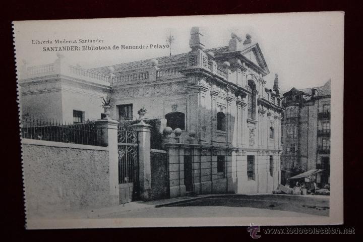 ANTIGUA POSTAL DE SANTANDER. CANTABRIA. BIBLIOTECA DE MENENDEZ PELAYO. HAUSER Y MENET. SIN CIRCULAR (Postales - España - Cantabria Antigua (hasta 1.939))