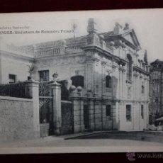 Postales: ANTIGUA POSTAL DE SANTANDER. CANTABRIA. BIBLIOTECA DE MENENDEZ PELAYO. HAUSER Y MENET. SIN CIRCULAR. Lote 45304678
