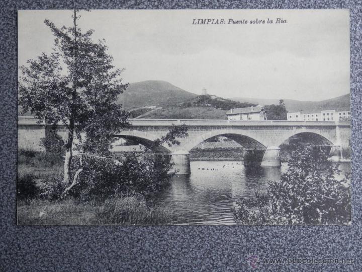 CANTABRIA LIMPIAS PUENTE SOBRE LA RÍA POSTAL ANTIGUA (Postales - España - Cantabria Antigua (hasta 1.939))