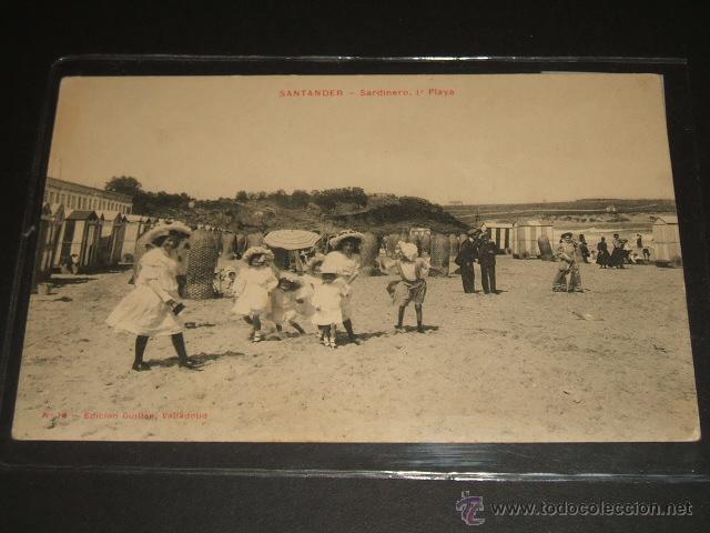 SANTANDER CANTABRIA SARDINERO PRIMERA PLAYA EDICION GUILLEN VALLADOLID Nº 16 ESCRITA EN 1910 (Postales - España - Cantabria Antigua (hasta 1.939))