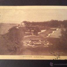 Postales: POSTAL JARDINES PIQUIO SANTANDER 1946. Lote 47549750