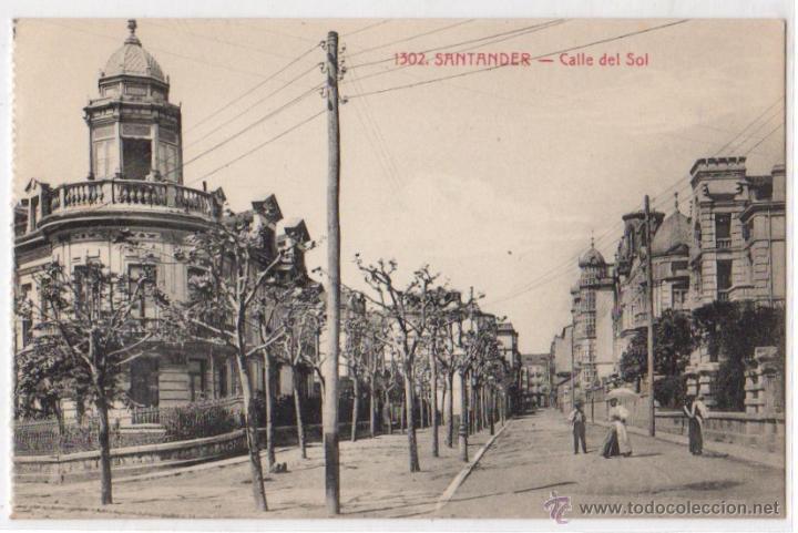 TARJETA POSTAL SANTANDER. CALLE DEL SOL. Nº 1502. AÑOS 30 (Postales - España - Cantabria Antigua (hasta 1.939))