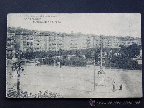 POSTAL DE SANTANDER / BOULEVARD DE PEREDA / VIUDA DE ALBIRA / HAUSER Y MENET (Postales - España - Cantabria Antigua (hasta 1.939))
