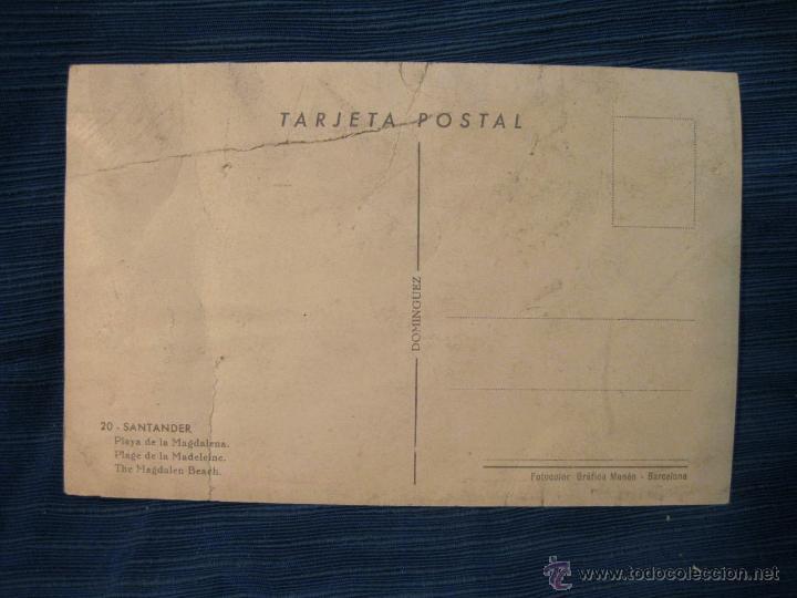 Postales: POSTAL EN MAL ESTADO DE LA PLAYA DE LA MAGDALENA DE SANTANDER. TARJETA POSTAL DOMINGUEZ - Foto 2 - 52726491