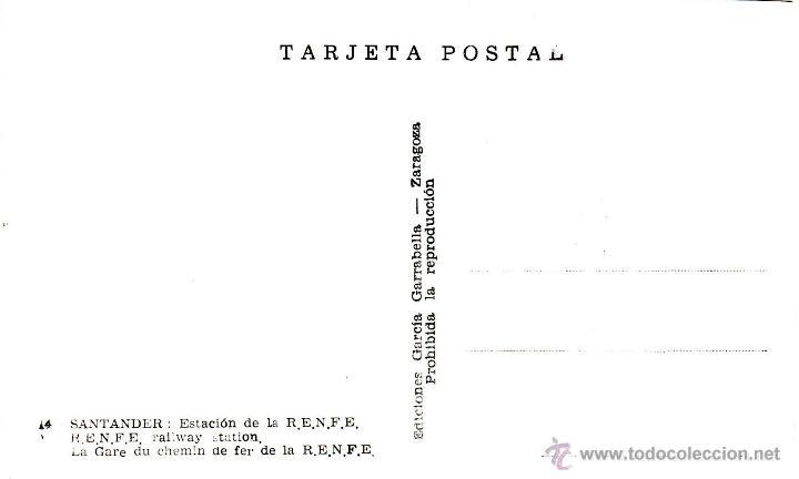 Postales: SANTANDER - ESTACION DE LA RENFE - ED. GARCIA GARABELLA - Nº14-SIN CIRCULAR - COLOREADA DE ACORDEON - Foto 2 - 53452426