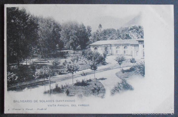(47898)POSTAL SIN CIRCULAR,VISTA PARCIAL DEL PARQUE (BALNEARIO DE SOLARES),MEDIO CUDEYO,CANTABRIA,CA (Postales - España - Cantabria Antigua (hasta 1.939))