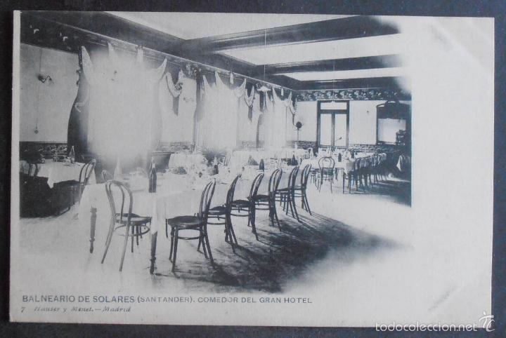 (47900)POSTAL SIN CIRCULAR,COMEDOR DEL GRAN HOTEL (BALNEARIO DE SOLARES),MEDIO CUDEYO,CANTABRIA,CANT (Postales - España - Cantabria Antigua (hasta 1.939))
