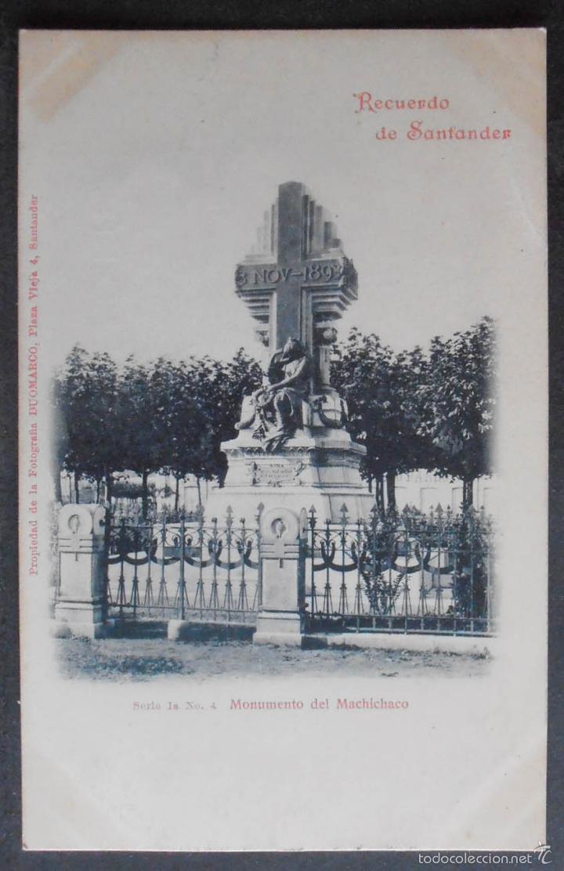 (47902)POSTAL SIN CIRCULAR,MONUMENTO DEL MACHICHACO,SANTANDER,CANTABRIA,CANTABRIA,DORSO SIN DIVIDIR (Postales - España - Cantabria Antigua (hasta 1.939))