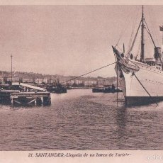 Postales: POSTAL 21 SANTANDER.- LLEGADA DE UN BARCO DE TURISTAS.L. ROISIN FOTOGRAFO. Lote 57734970