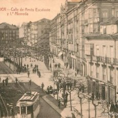 Postales: SANTANDER - CALLE DE AMOS ESCALANTE Y 1º ALAMEDA - PALACIOS Nº4 - TRANVIA. Lote 57991366