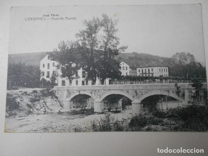 LIERGANES. PUENTE NUEVO. POSTAL DE E. CABRILLO, TORRELAVEGA. SELLADA. (Postales - España - Cantabria Antigua (hasta 1.939))