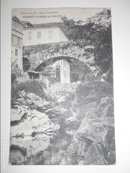 PUENTE VIESGO. EL PUENTE. POSTAL DE LIBRERIA DE M. ALBIRA, SANTANDER. (Postales - España - Cantabria Antigua (hasta 1.939))