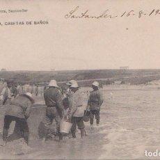 Postales: SANTANDER (CANTABRIA) - SARDINERO 2ª PLAYA CASETAS DE BAÑO - LIBRERIA DE M. ALBIRA. Lote 78093729