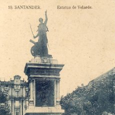 Postales: TARJETA POSTAL SANTANDER ESTATUA DE VELARDE SIN CIRCULAR. Lote 82195032