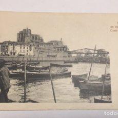 Postales: POSTAL ANTIGUA DEL MUELLE EN CONSTRUCCIÓN DE CASTRO URDIALES CANTABRIA. Lote 84759444