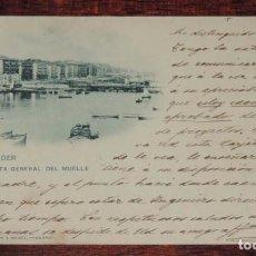 Postales: ANTIGUA POSTAL DE SANTANDER, VISTA GENERAL DEL MUELLE, 233 HAUSER Y MENET, CIRCULADA, SIN DIVIDIR.. Lote 88747704