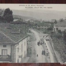 Postales: ANTIGUA POSTAL DE ALCEDA, CANTABRIA, CALLE DEL AVE MARIA, LIBRERIA DE M. ALBIRA, NO CIRCULADA. ED. H. Lote 96071511