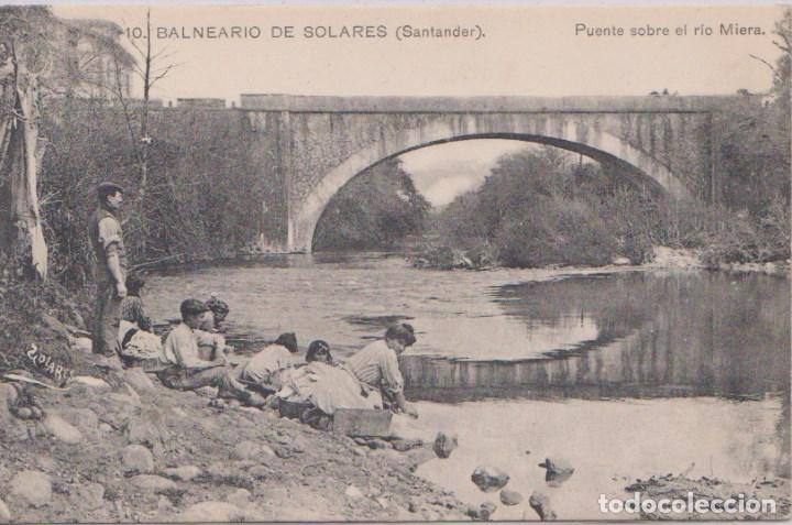 SOLARES (CANTABRIA) - BALNEARIO - PUENTE SOBRE EL RIO MIERA (Postales - España - Cantabria Antigua (hasta 1.939))