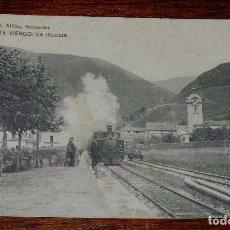 Postales: PUENTE VIESGO, CANTABRIA, LA IGLESIA, EDIT.LIBRERIA M.ALBIRA, CIRCULADA, ED. HAUSER Y MENET.. Lote 100743247