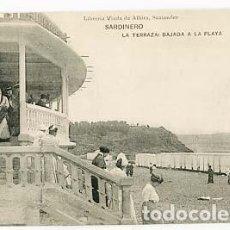 Postales: SANTANDER SARDINERO LA TERRAZA BAJADA A LA PLAYA. ED LIBR VIUDA DE ALBIRA. FOTOTIPIA HAUSER Y MENET. Lote 101039731