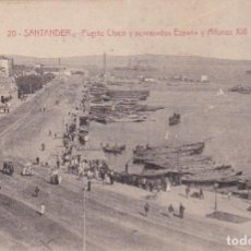 Postales: SANTANDER Nº 20 PUERTO CHICO Y ACORAZADOS ESPAÑA Y ALFONSO XIII CIR. 8/12/25 VER FOTO ADICIONAL . Lote 104632931
