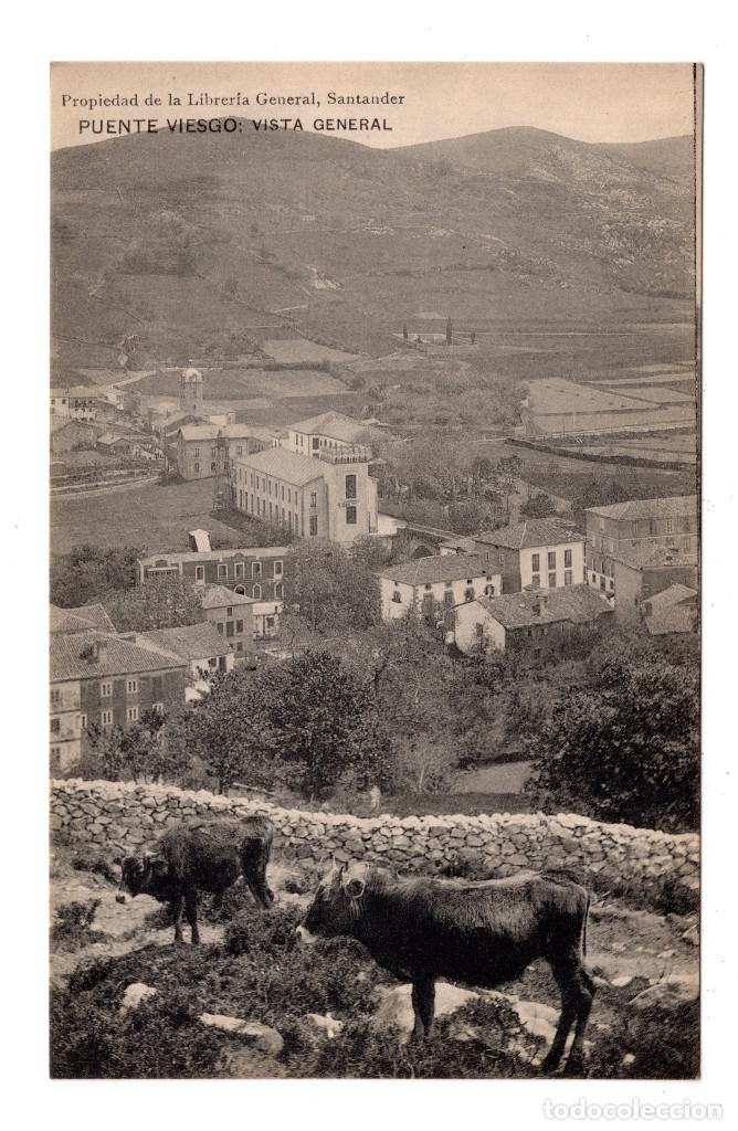 PUENTE VIESGO.- SANTANDER - VISTA GENERAL . PROPIEDAD DE LA LIBRERÍA GENERAL (Postales - España - Cantabria Antigua (hasta 1.939))