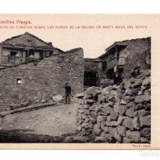 Postales: PUENTE VIESGO.- PRIMITIVO VIESGO.GRUPO TURISTAS SOBRE LAS RUINAS DE LA IGLESIA.S.M.DEL MONTE E.MASIP. Lote 111295607