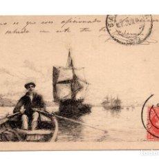 Postales: POSTAL GRABADO CAMPUZANO. CANTABRIA. SANTANDER. MARINERO REMANDO, VELEROS CIRCULADA SALAMANCA. 1902. Lote 115041759