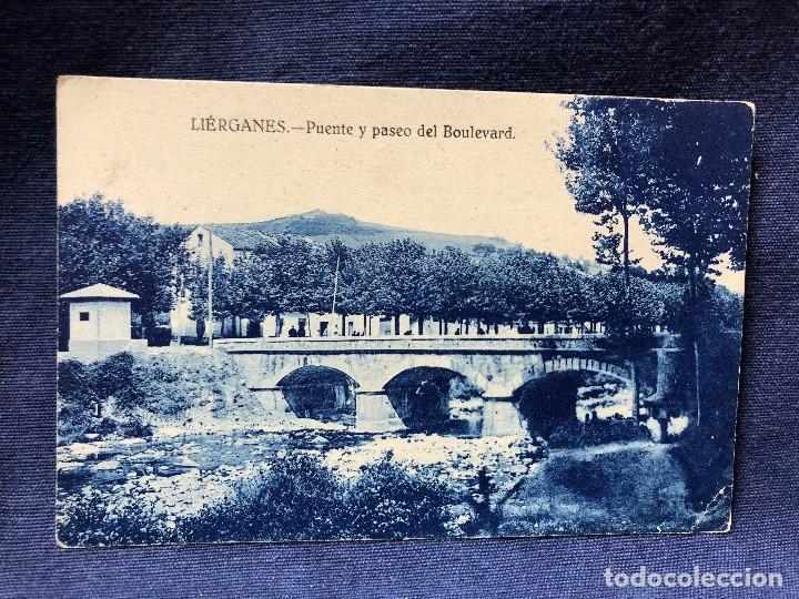 LIÉRGANES SANTANDER PUENTE Y PASEO DEL BOULEVARD POSTAL ANTIGUA SIN ESCRITURA NI CIRCULADA (Postales - España - Cantabria Antigua (hasta 1.939))