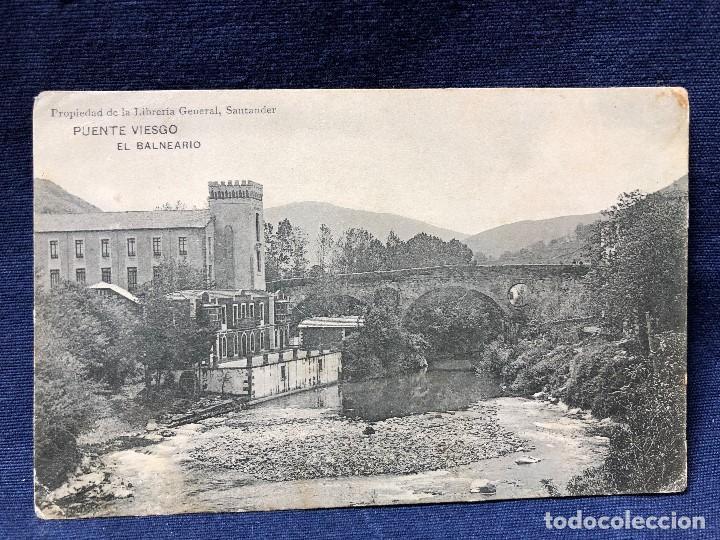 ANTIGUA POSTAL DE PUENTE VIESGO EL BALNEARIO SANTANDER LIBRERIA GENERAL SIN CIRCULAR (Postales - España - Cantabria Antigua (hasta 1.939))