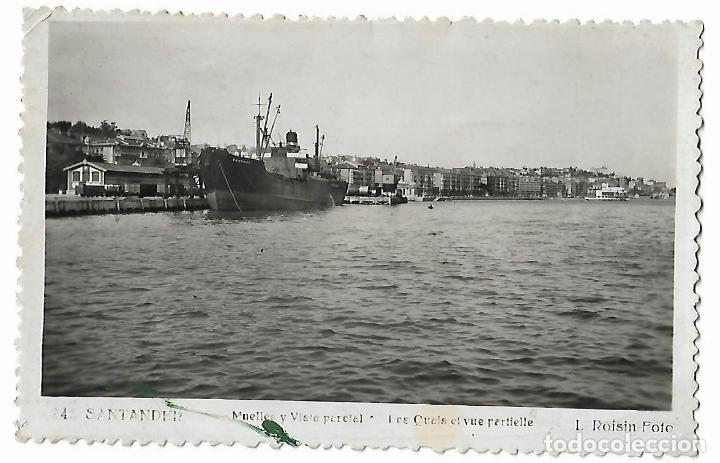SANTANDER. MUELLES Y VISTA PARCIAL.L. ROISIN. (Postales - España - Cantabria Antigua (hasta 1.939))