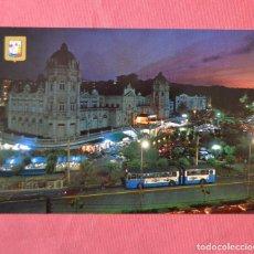 Postales: SANTANDER - PLAZA DE ITALIA Y CASINO - DOMINGUEZ - NOCTURNA - AUTOBUS. Lote 124521919